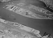 """Ackroyd 08196-09. """"Port of Portland. Swan Island. March 11, 1958"""" (5x7)  (lower right on west bank is West Coast Terminal, SP&S Lake Yard and turntable, Waterways terminal - now Georgia Pacific, Gunderson. Above is Swan Island and Mocks Bottom.)"""