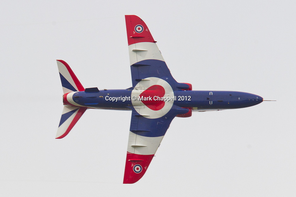 Hawk T1 solo display from 208(R) Sqn, RAF Valley  at the Cotswold Air Show/Best of Britain Show. The Hawk, flown by Fgt Lt Phil Bird has been painted to celebrate HM The Queen's Diamond Jubilee for the 2012 season. Cirencester, UNITED KINGDOM. August 26 2012..Photo Credit: Mark Chappell.© Mark Chappell 2012. All Rights Reserved. See instructions.