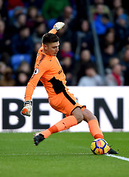 """Burnley goalkeeper Nick Pope during the Premier League match at Selhurst Park, London. PRESS ASSOCIATION Photo. Picture date: Saturday January 13, 2018. See PA story SOCCER Palace. Photo credit should read: Daniel Hambury/PA Wire. RESTRICTIONS: EDITORIAL USE ONLY No use with unauthorised audio, video, data, fixture lists, club/league logos or """"live"""" services. Online in-match use limited to 75 images, no video emulation. No use in betting, games or single club/league/player publications"""
