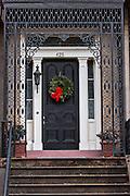 Christmas wreaths on a home in historic Savannah, GA.
