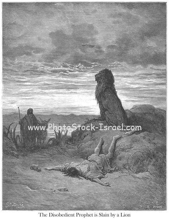 The Disobedient Prophet Slain by a Lion 1 Kings 13:24-25 From the book 'Bible Gallery' Illustrated by Gustave Dore with Memoir of Dore and Descriptive Letter-press by Talbot W. Chambers D.D. Published by Cassell & Company Limited in London and simultaneously by Mame in Tours, France in 1866