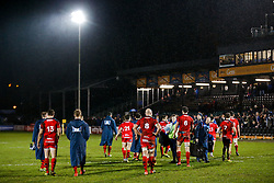 Bristol United look dejected after Bath United win the match - Mandatory byline: Rogan Thomson/JMP - 28/12/2015 - RUGBY UNION - The Recreation Ground - Bath, England - Bath United v Bristol United - Aviva A League.