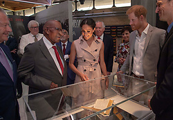 July 17, 2018 - London, London, United Kingdom - Image licensed to i-Images Picture Agency. 17/07/2018. London, United Kingdom. The Duke and Duchess of Sussex  at the Nelson Mandela exhibition in London. Pic shows: With Andrew Miangeni  who was in prison with Nelson Mandela  (Credit Image: © Pool/i-Images via ZUMA Press)