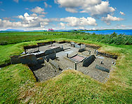 The recessed box beds and harth of one of the 8 houses of the Neolithic Barnhouse Settlement archaeological site, circa 3000 BC,  Loch of Harray, Orkney Mainland, Scotland, .<br /> <br /> Visit our SCOTLAND HISTORIC PLACXES PHOTO COLLECTIONS for more photos to download or buy as wall art prints https://funkystock.photoshelter.com/gallery-collection/Images-of-Scotland-Scotish-Historic-Places-Pictures-Photos/C0000eJg00xiv_iQ<br /> '<br /> Visit our PREHISTORIC PLACES PHOTO COLLECTIONS for more  photos to download or buy as prints https://funkystock.photoshelter.com/gallery-collection/Prehistoric-Neolithic-Sites-Art-Artefacts-Pictures-Photos/C0000tfxw63zrUT4