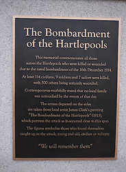 © Licensed to London News Pictures. <br /> 16/12/2014. <br /> <br /> Hartlepool, United Kingdom<br /> <br /> A plaque is unveiled during a memorial event to commemorate the bombardment of Hartlepool by German warships during World War One. During the bombardment 130 civilians were killed and more than 500 were wounded. The Headland's Heugh Gun Battery returned fire in what was the only battle to be fought on British soil during World War One, and one of the Battery's soldiers, Theo Jones of the Durham Light Infantry, became the first British soldier to be killed by enemy action on home ground in the war.<br /> <br /> Photo credit : Ian Forsyth/LNP