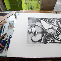 Picture shows :detail :   A print  by artist and playwright John Byrne..Glasgow Print Studio will be part of the need Trongate 103 complex..Print Studio Glasgow, King Street, Merchant City Area, Glasgow. Travel guide feature...Picture Drew Farrell. tel : 07721-735041......