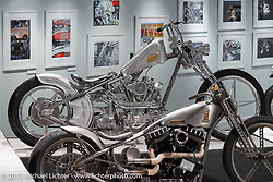"""Ken Nagai's aluminum HD shovel custom in Michael Lichter's annual Motorcycles as Art Show """"Naked Truth"""" at the Buffalo Chip during the 75th Annual Sturgis Black Hills Motorcycle Rally.  SD, USA.  August 6, 2015.  Photography ©2015 Michael Lichter."""