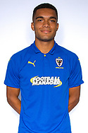 AFC Wimbledon defender Reuben Collins (36) during the official team photocall for AFC Wimbledon at the Cherry Red Records Stadium, Kingston, England on 8 August 2019.