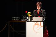 Koningin Maxima bij symposium 40 jaar Blijf van m'n Lijf in het Tropenmuseum, Amsterdam.Het symposium geeft inzicht in de geschiedenis van de vrouwenopvang en de nieuwe mogelijkheden voor de aanpak van huiselijk geweld. <br /> <br /> Queen Maxima Symposium Stay 40 years of my Body in the Tropenmuseum, Amsterdam.The symposium provides insight into the history of the women's and the new possibilities for addressing domestic violence.<br /> <br /> op de foto / On the photo: bedenker van de app P. van der Pool