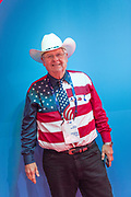 A GOP delegate from Texas wears American flag shirt and tie with his cowboy hat during the Republican National Convention July 20, 2016 in Cleveland, Ohio.