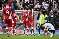 Football - 2021 / 2022  Sky Best EFL  Championship - Fulham vs Middlesbrough - Craven Cottage - Sunday 8th August 2021<br /> <br /> Middlesbrough's Isaiah Jones with Matt Crooks at the final whistle.<br /> <br /> COLORSPORT/Ashley Western
