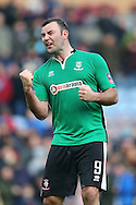 Matt Rhead of Lincoln City celebrates after the final whistle. The Emirates FA cup 5th round match, Burnley v Lincoln City at Turf Moor in Burnley, Lancs on Saturday 18th February 2017.<br /> pic by Chris Stading, Andrew Orchard Sports Photography.