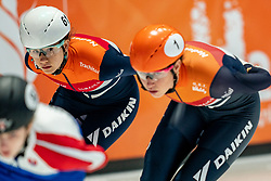 Selma Poutsma of Netherlands in action on 1500 meter during ISU World Short Track speed skating Championships on March 05, 2021 in Dordrecht