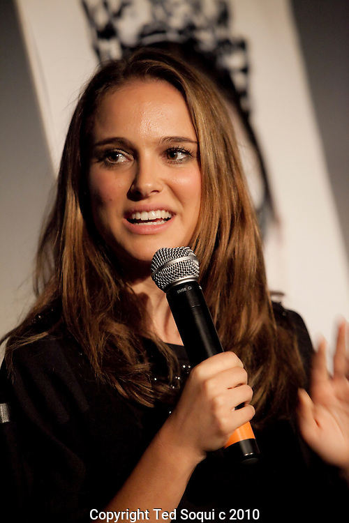 "Natalie Portman speaking about her role in the film ""Black Swan"" during a Q and A screening at the Arclight Cinema held by The Wrap."