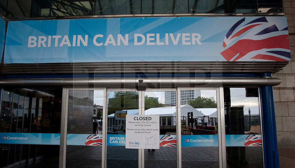 © Licensed to London News Pictures. 05/10/2012.ICC, Birmingham. Preparations are underway to welcome the Conservative Party Conference to Birmingham. Pictured, the entrance to the ICC in Broad Street. Photo credit : Dave Warren/LNP