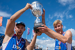 Jasper Bouter en Ruben Penninga win the gold medal match. The Final Day of the DELA NK Beach volleyball for men and women will be played in The Hague Beach Stadium on the beach of Scheveningen on 23 July 2020 in Zaandam.