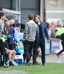 Partick Thistle's manager Alan Archibald and Hearts Head Coach Robbie Neilson at the end. Partick Thistle 1 v 2 Hearts, Ladbrokes Premiership match played 27/89/2016 at Firhill.