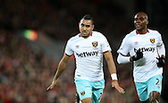 Dimitri Payet of West Ham United celebrates after scoring during the Premier League match at Anfield Stadium, Liverpool. Picture date: December 11th, 2016.Photo credit should read: Lynne Cameron/Sportimage