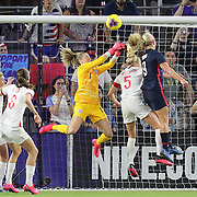 England goalkeeper Carly Telford (1) makes a save during the first match of the 2020 She Believes Cup soccer tournament at Exploria Stadium on 5 March 2020 in Orlando, Florida USA.