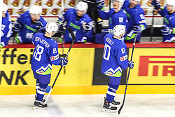 Ken Ograjensek of Slovenia and Anze Kuralt of Slovenia celebrate during Ice Hockey match between National Teams of Italy and Slovenia in Round #5 of 2018 IIHF Ice Hockey World Championship Division I Group A, on April 28, 2018 in Arena Laszla Pappa, Budapest, Hungary. Photo by David Balogh / Sportida