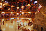 The interior of the historic Old Faithful Inn, Yellowstone National  Park, Wyoming