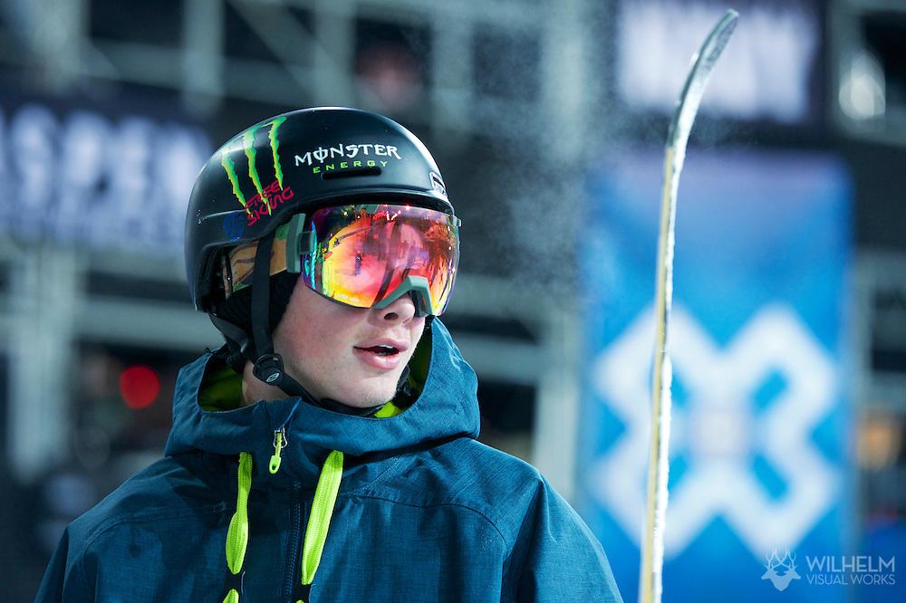 David Wise during Ski Superpipe Practice at 2014 X Games Aspen at Buttermilk Mountain in Aspen, CO. ©Brett Wilhelm/ESPN