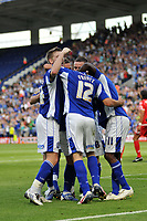 Photo: Tony Oudot/Richard Lane Photography. Leicester City v Barnsley. Coca Cola Championship. 22/08/2009. <br /> GOAL! Matty Fryatt scores the first goal for Leicester City and is mobbed by team mates