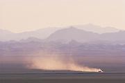 Vehicle in desert<br /> Gobi Desert<br /> Mongolia