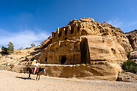 Petra is Jordan's most visited tourist attraction. Ruins close to the Siq entrance.