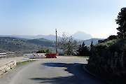 scenic landscape view with Pic  de Bugarach in the distance Languedoc Corbières hills of southern France