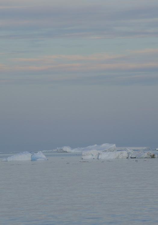 Icebergs in the Weddell Sea near Paulet Island at sunset. Paulet Island, Weddell, Sea Antarctica. 02Mar16