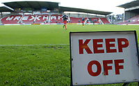 Fotball<br /> Foto: BPI/Digitalsport<br /> NORWAY ONLY<br /> <br /> 10.08.2004<br /> Liverpool reserves v WBA reserves, FA Premier Reserve League, Racecourse Ground, Wrexham<br /> <br /> A message from fans to the current chairman in front of the new stand. Wrexham's Racecourse Ground home is under threat from property developers