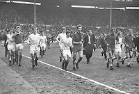Football - 1970 FA Cup Final - Chelsea 2 Leeds United 2  11/04/1970<br />   <br /> Players run round the pitch after the match together after the game ended 2-2 making it the first FA Cup final to require a replay since 1912.<br /> l-r. Terry Cooper, Gary Sprake, Paul Madeley, Allan Clarke, Mick Jones, Peter Osgood,Tommy Baldwin, Billy Bremner and Marvin Hinton at Wembley.<br /> <br /> Credit Colorsport / Provincial Press