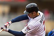 Joe Mauer #7 of the Minnesota Twins bats against the Kansas City Royals on April 13, 2014 at Target Field in Minneapolis, Minnesota.  The Twins defeated the Royals 4 to 3.  Photo by Ben Krause