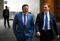 © Licensed to London News Pictures. 10/07/2016. London, UK. UKIP donor ARRON BANKS (left) arrives at the BBC Broadcasting House in London to appear on the Andrew Marr Show on July 10, 2016.  Photo credit: Ben Cawthra/LNP