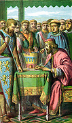 John (1167-1216) King of England from 1199. John signing Magna Carta at Runnymede 15 June 1215 while the barons look on. Chromolithograph c1860