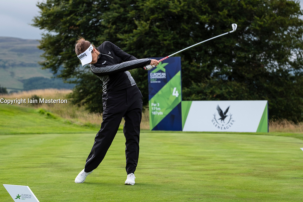 Gleneagles, Scotland, UK; 8 August, 2018.  Day one of golf competition at Gleneagles.. Men's and Women's Team Championships Round Robin Group Stage - 1st Round. Four Ball Match Play format. Gleneagles for the European Championships 2018. Georgia Hall of GB tees of at the 4th hole