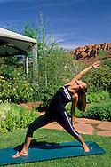 Practicing yoga fitness outdoors at Red Mountain Resort, Ivins, Utah's Dixie, near St. George, UTAH