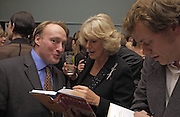 Andrew Roberts, Camilla Parker Bowles and Tom Parker Bowles, Tom Parker Bowles, Susan Hill and Matthew Rice host party to launch 'E is For Eating' Kensington Place. 3 November 2004.  ONE TIME USE ONLY - DO NOT ARCHIVE  © Copyright Photograph by Dafydd Jones 66 Stockwell Park Rd. London SW9 0DA Tel 020 7733 0108 www.dafjones.com