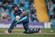 Jonny Bairstow (Yorkshire CCC) sweeps the ball and reaches his century having faced less than 80 balls during the Royal London 1 Day Cup match between Yorkshire County Cricket Club and Durham County Cricket Club at Headingley Stadium, Headingley, United Kingdom on 3 May 2017. Photo by Mark P Doherty.