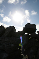 Sunlight over a stone wall on the Aran Islands County Galway Ireland