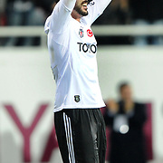 Besiktas's Hugo Almedia celebrate his goal during their Turkish superleague soccer match Besiktas between Kardemir Karabukspor at BJK Inonu Stadium in Istanbul Turkey on Thursday, 22 December 2011. Photo by TURKPIX