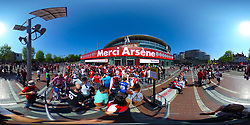 Fans queuing ahead of Arsene Wenger's final home game at Arsenal