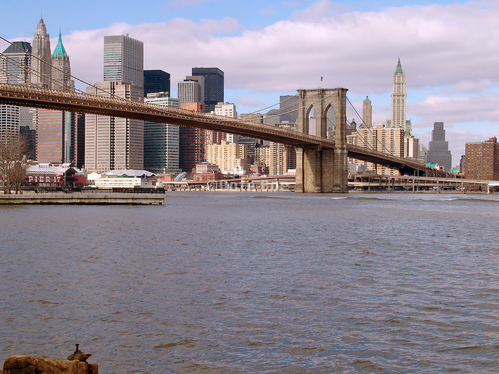 View of the Brooklyn Bridge and downtown Manhattan.