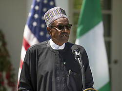 President Muhammadu Buhari of Nigeria makes remarks as he conducts a joint press conference with United States President Donald J. Trump in the Rose Garden of the White House in Washington, DC on Monday, April 30, 2018. Photo by Ron Sachs/CNP/ABACAPRESS.COM