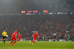 The score at 90 minutes as Wales go on to win the match 1-0 to top their UEFA2016 Qualifying Group - Photo mandatory by-line: Rogan Thomson/JMP - 07966 386802 - 12/06/2015 - SPORT - FOOTBALL - Cardiff, Wales - Cardiff City Stadium - Wales v Belgium - EURO 2016 Qualifier.