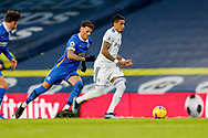 Leeds United forward Raphinha (18) and Brighton and Hove Albion defender Ben White (3) in action during the Premier League match between Leeds United and Brighton and Hove Albion at Elland Road, Leeds, England on 16 January 2021.