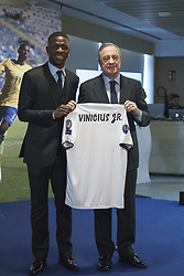July 20, 2018 - Madrid, Spain - Real Madrid new Brazilian forward Vinicius Junior poses on the pitch during his official presentation at the Santiago Bernabeu Stadium in Madrid on July 20, 2018. (Credit Image: © Oscar Gonzalez/NurPhoto via ZUMA Press)