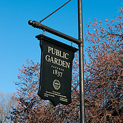 Black wooden sign of the Boston Public Garden