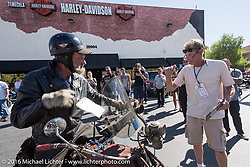 Rich Rau of Oregon on his 1916 Indian as he arrives at the hosted lunch stop at Temecula Harley-Davidson on the last day of the Motorcycle Cannonball Race of the Century. Stage-15 ride from Palm Desert, CA to Carlsbad, CA. USA. Sunday September 25, 2016. Photography ©2016 Michael Lichter.